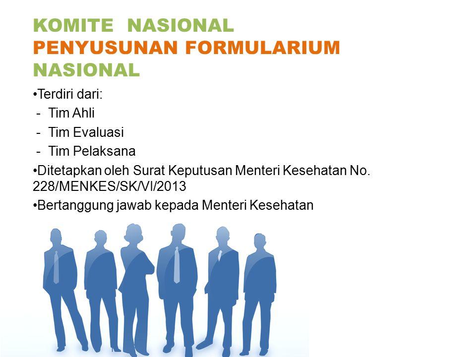 KOMITE NASIONAL PENYUSUNAN FORMULARIUM NASIONAL Terdiri dari: - Tim Ahli - Tim Evaluasi - Tim Pelaksana Ditetapkan oleh Surat Keputusan Menteri Keseha