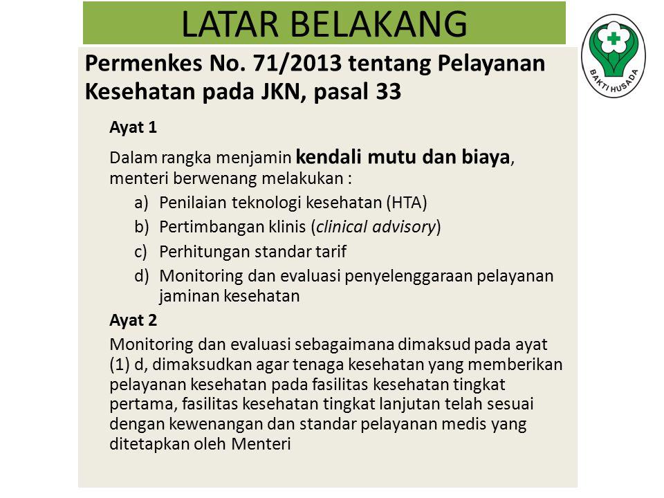 LATAR BELAKANG Permenkes No. 71/2013 tentang Pelayanan Kesehatan pada JKN, pasal 33 Ayat 1 Dalam rangka menjamin kendali mutu dan biaya, menteri berwe