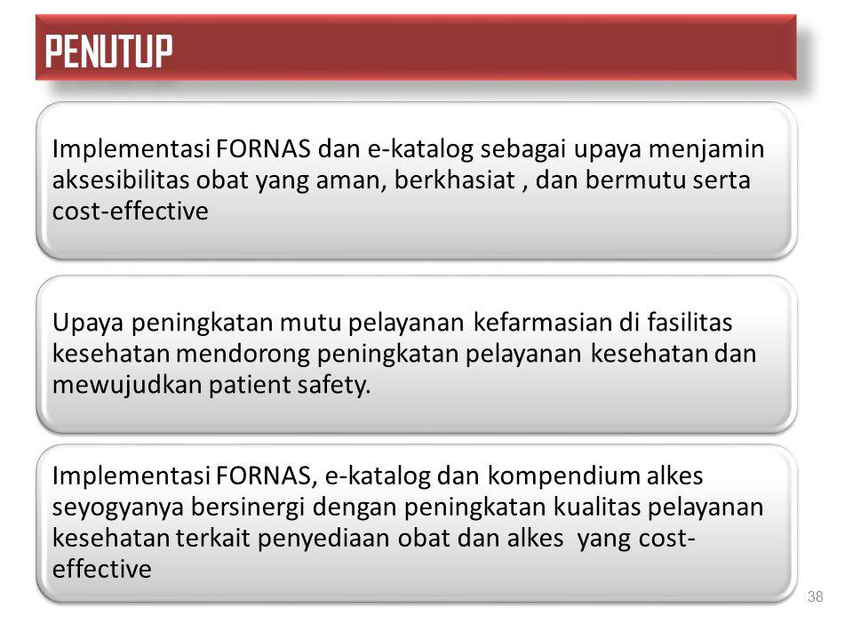 38 Implementasi FORNAS dan e-katalog sebagai upaya menjamin aksesibilitas obat yang aman, berkhasiat, dan bermutu serta cost-effective Upaya peningkat
