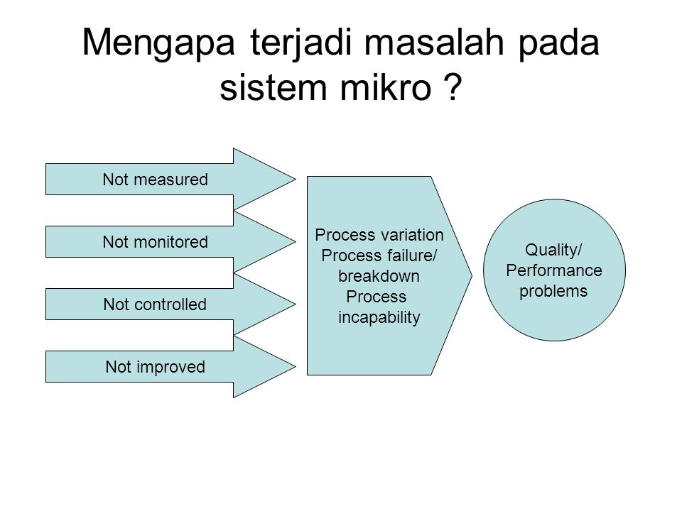 Mengapa terjadi masalah pada sistem mikro ? Quality/ Performance problems Process variation Process failure/ breakdown Process incapability Not measur