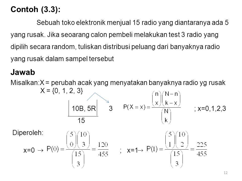 Contoh (3.3): Sebuah toko elektronik menjual 15 radio yang diantaranya ada 5 yang rusak. Jika seoarang calon pembeli melakukan test 3 radio yang dipil