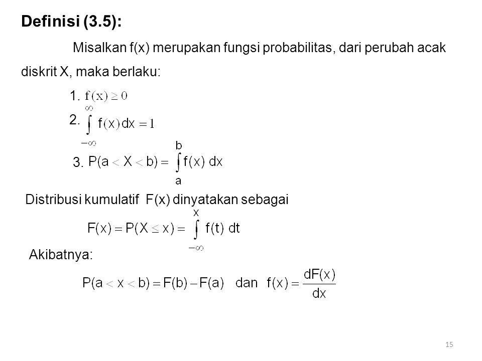 Definisi (3.5): Misalkan f(x) merupakan fungsi probabilitas, dari perubah acak diskrit X, maka berlaku: 1. 2. 3. Distribusi kumulatif F(x) dinyatakan