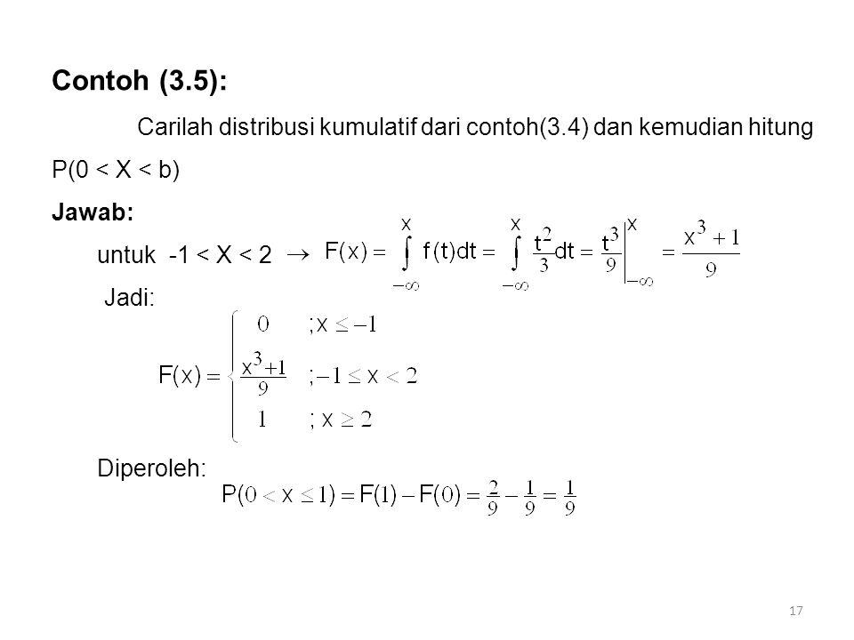 17 Contoh (3.5): Carilah distribusi kumulatif dari contoh(3.4) dan kemudian hitung P(0 < X < b) Jawab: untuk -1 < X < 2 Jadi: Diperoleh: