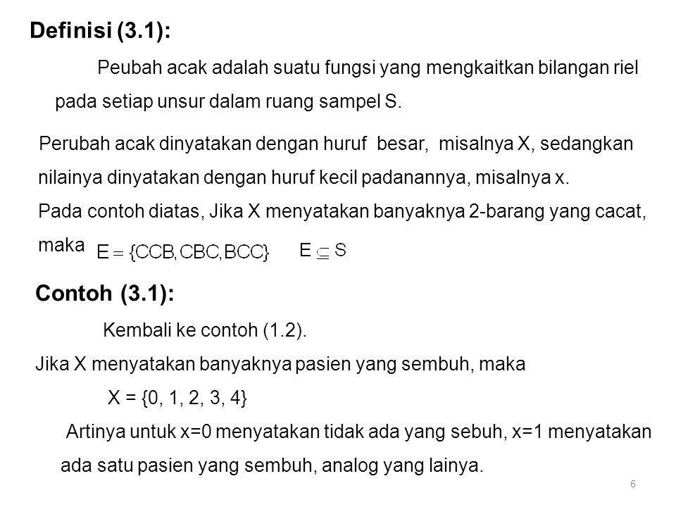 Definisi (3.1): Peubah acak adalah suatu fungsi yang mengkaitkan bilangan riel pada setiap unsur dalam ruang sampel S. Perubah acak dinyatakan dengan