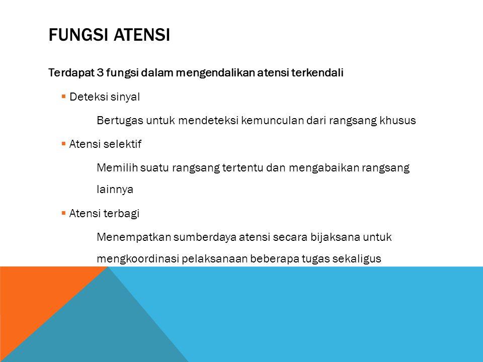 FUNGSI ATENSI Terdapat 3 fungsi dalam mengendalikan atensi terkendali  Deteksi sinyal Bertugas untuk mendeteksi kemunculan dari rangsang khusus  Ate