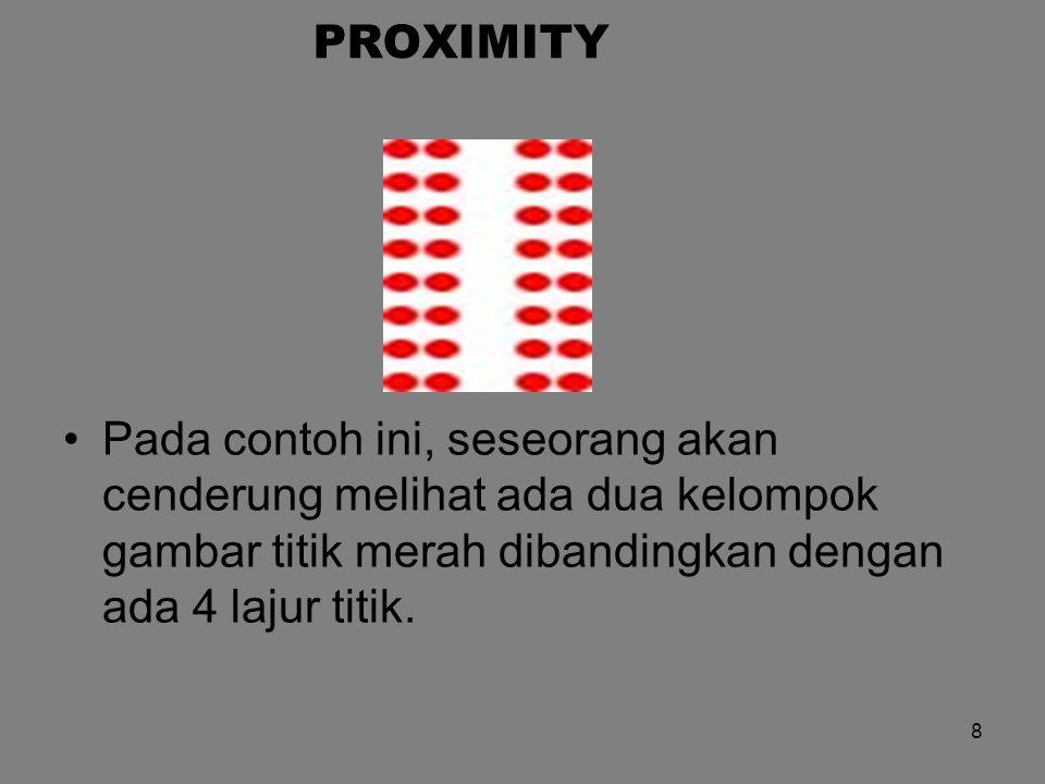 PROXIMITY Pada contoh ini, seseorang akan cenderung melihat ada dua kelompok gambar titik merah dibandingkan dengan ada 4 lajur titik. 8