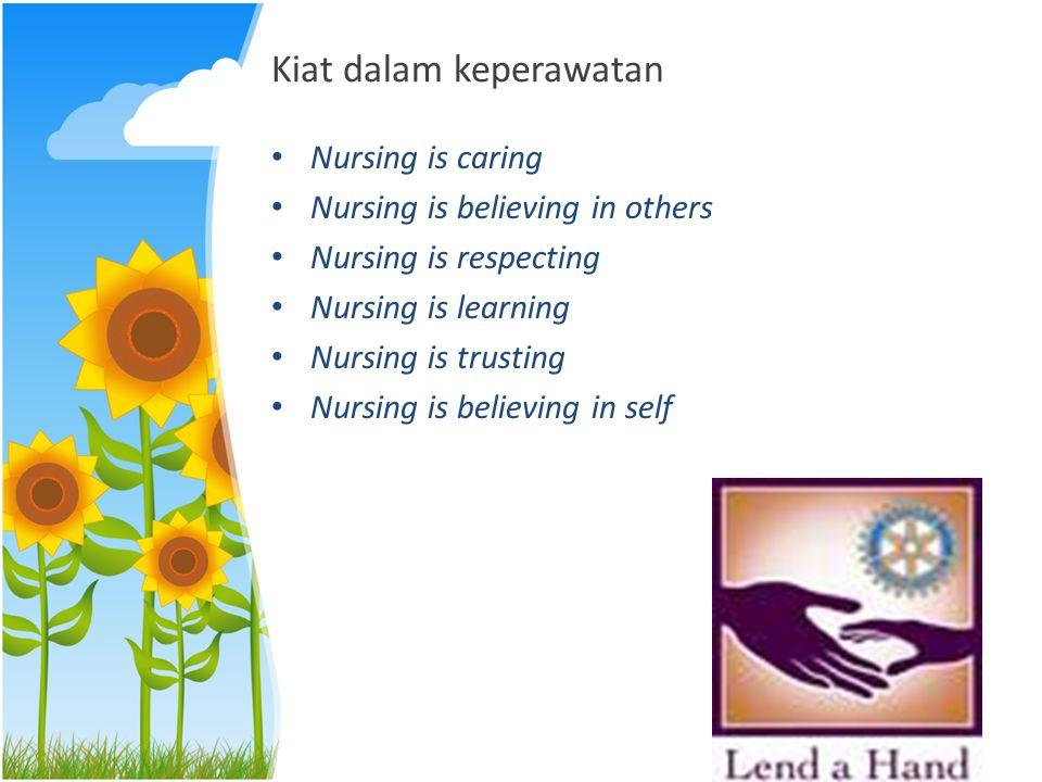 Kiat dalam keperawatan Nursing is caring Nursing is believing in others Nursing is respecting Nursing is learning Nursing is trusting Nursing is belie