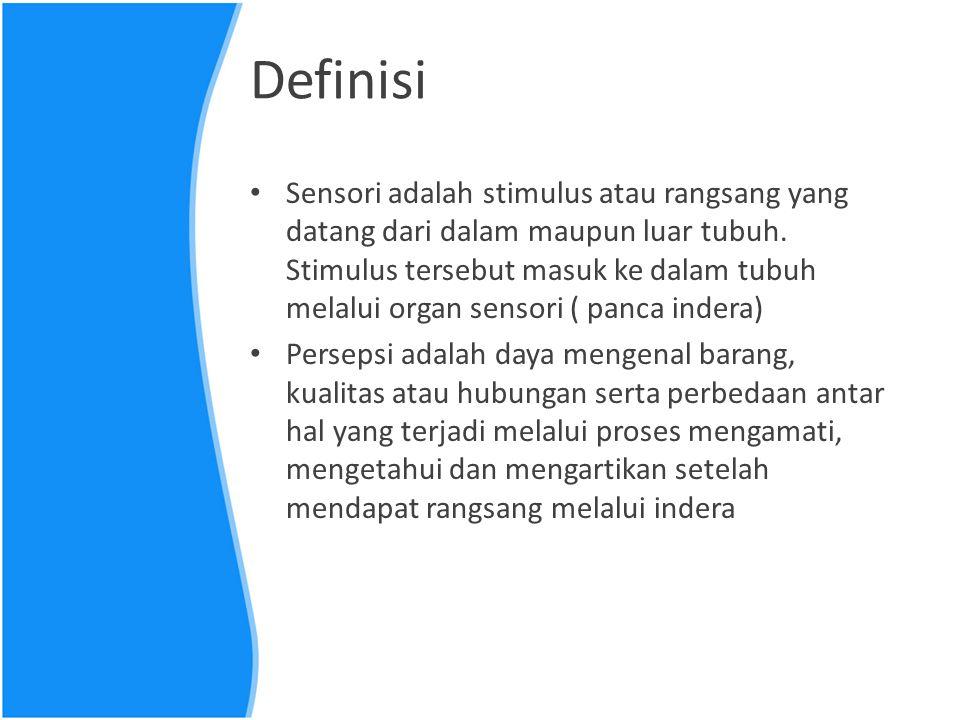 Definisi Sensori adalah stimulus atau rangsang yang datang dari dalam maupun luar tubuh. Stimulus tersebut masuk ke dalam tubuh melalui organ sensori