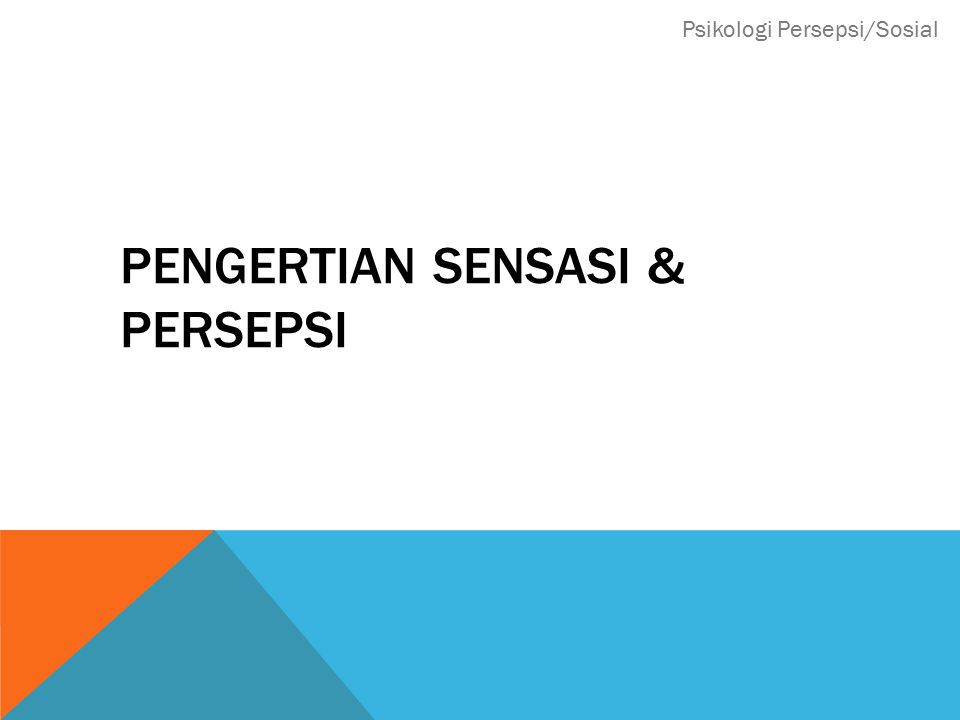 PENGERTIAN SENSASI & PERSEPSI Psikologi Persepsi/Sosial