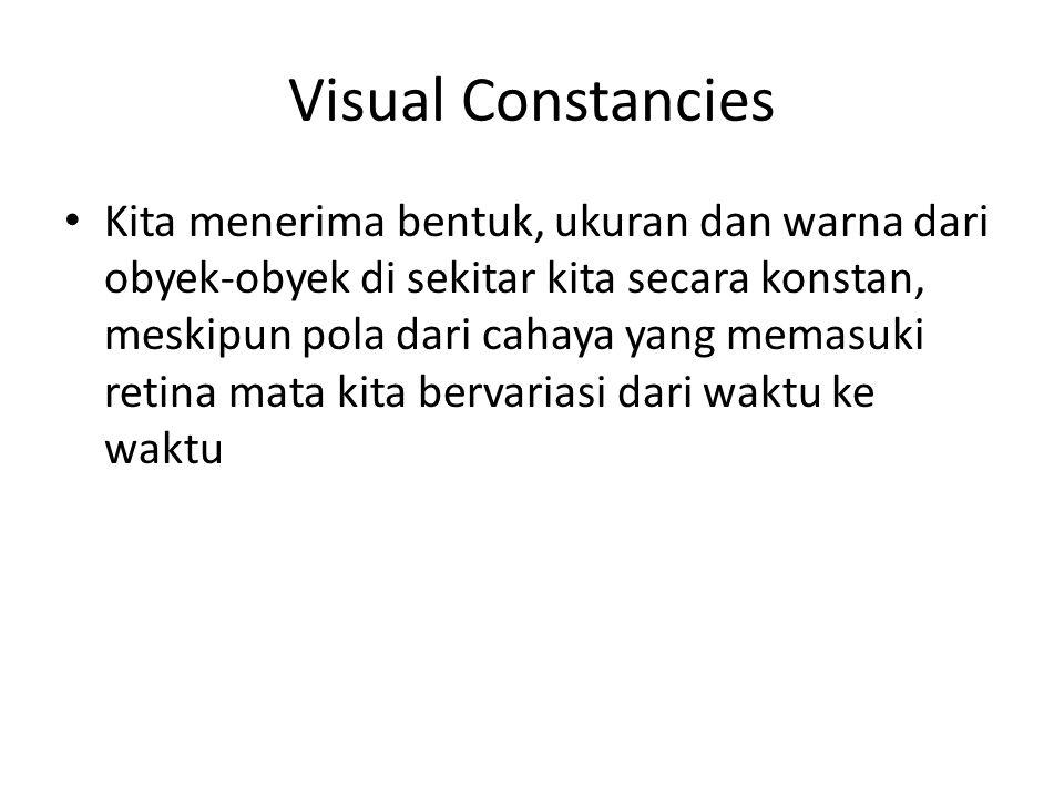 Visual Constancies Kita menerima bentuk, ukuran dan warna dari obyek-obyek di sekitar kita secara konstan, meskipun pola dari cahaya yang memasuki retina mata kita bervariasi dari waktu ke waktu