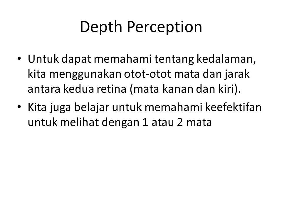 Depth Perception Untuk dapat memahami tentang kedalaman, kita menggunakan otot-otot mata dan jarak antara kedua retina (mata kanan dan kiri).