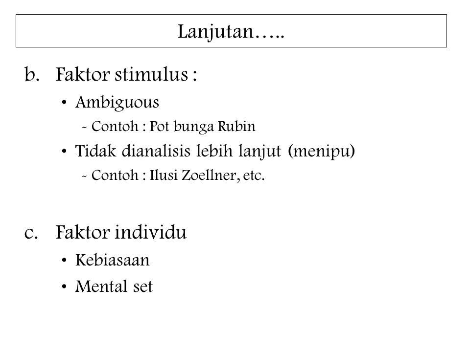 Lanjutan….. b.Faktor stimulus : Ambiguous - Contoh : Pot bunga Rubin Tidak dianalisis lebih lanjut (menipu) - Contoh : Ilusi Zoellner, etc. c.Faktor i