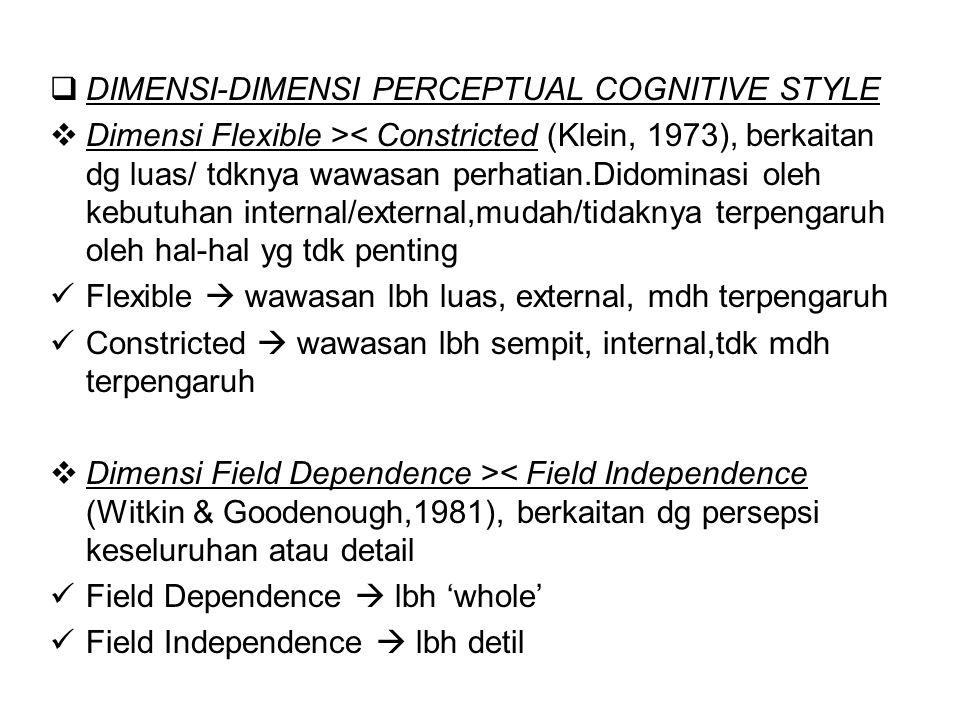 DIMENSI-DIMENSI PERCEPTUAL COGNITIVE STYLE  Dimensi Flexible >< Constricted (Klein, 1973), berkaitan dg luas/ tdknya wawasan perhatian.Didominasi o