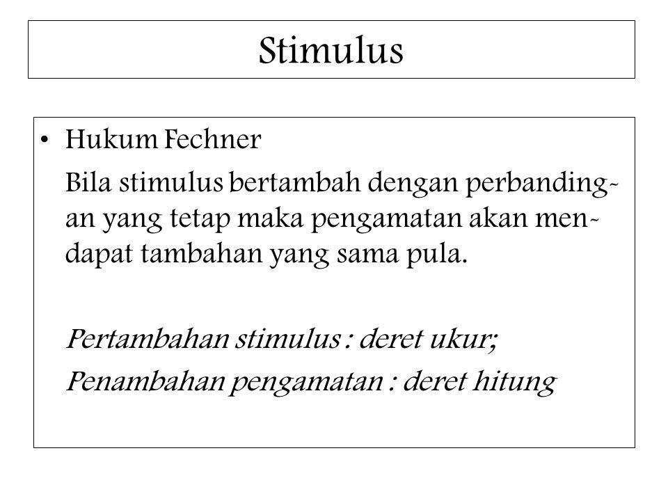 Stimulus Hukum Fechner Bila stimulus bertambah dengan perbanding- an yang tetap maka pengamatan akan men- dapat tambahan yang sama pula. Pertambahan s