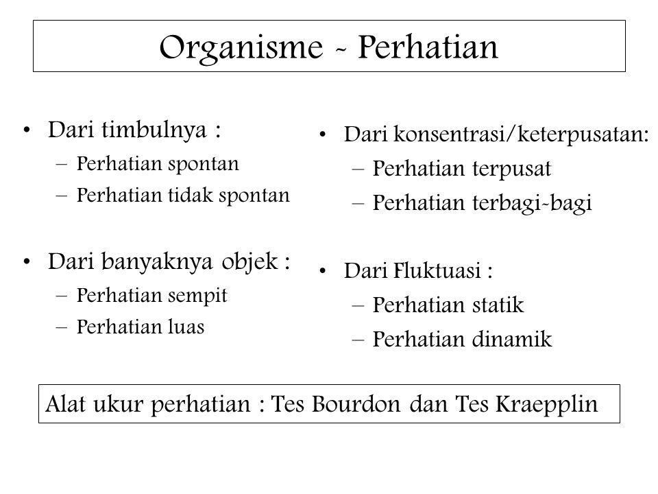 Organisme - Perhatian Dari timbulnya : –Perhatian spontan –Perhatian tidak spontan Dari banyaknya objek : –Perhatian sempit –Perhatian luas Dari konsentrasi/keterpusatan: –Perhatian terpusat –Perhatian terbagi-bagi Dari Fluktuasi : –Perhatian statik –Perhatian dinamik Alat ukur perhatian : Tes Bourdon dan Tes Kraepplin