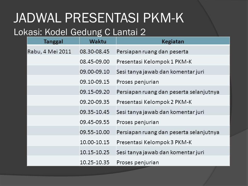 JADWAL PRESENTASI PKM-K Lokasi: Kodel Gedung C Lantai 2 TanggalWaktuKegiatan Rabu, 4 Mei 2011 10.35-10.40Persiapan ruang dan peserta selanjutnya 10.40-10.55Presentasi Kelompok 1 PKM-P 10.55-11.05Sesi tanya jawab dan komentar juri 11.05-11.15Proses penjurian 11.15-11.30Presentasi Kelompok 2 PKM-P 11.30-11.40Sesi tanya jawab dan komentar juri 11.40-11.50Proses penjurian 11.50-11.55Persiapan ruang dan peserta selanjutnya 11.55-12.30Istirahat 12.30-13.45Presentasi Kelompok 3 PKM-P 13.45-13.55Sesi tanya jawab dan komentar juri 13.55-14.05Proses penjurian