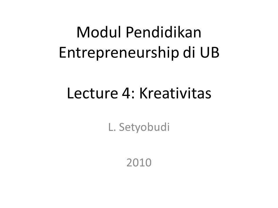 Tujuan Pembelajaran Mengenalkan kreativitas sebagai modal penting seorang Entrepreneur/Wirausahawan Menjelaskan hambatan berpikir kreatif yang dapat menghambat progress sebuah usaha/bisnis Mengenalkan cara mengukur potensi kreatif Mengenalkan cara meningkatkan kreativitas dan membebaskan diri dari belenggu 20/08/20102UBEED-LSB EE Sem Ganjl 2010