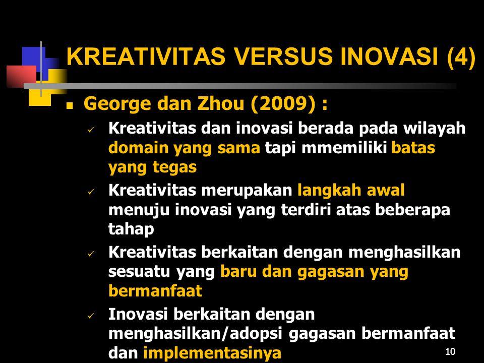 KREATIVITAS VERSUS INOVASI (4) George dan Zhou (2009) : Kreativitas dan inovasi berada pada wilayah domain yang sama tapi mmemiliki batas yang tegas K
