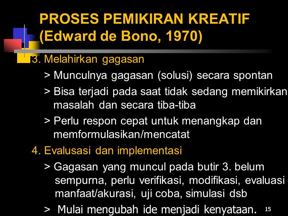 PROSES PEMIKIRAN KREATIF (Edward de Bono, 1970) 3. Melahirkan gagasan > Munculnya gagasan (solusi) secara spontan > Bisa terjadi pada saat tidak sedan