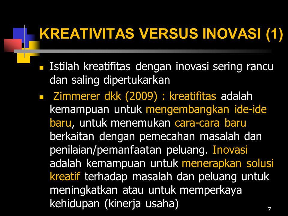 KREATIVITAS VERSUS INOVASI (2) Kreativitas adalah kemampuan untuk mengembangkan ide-ide baru dan cara- cara baru dalam pemecahan masalah dan menemukan peluang (thinking new thing).