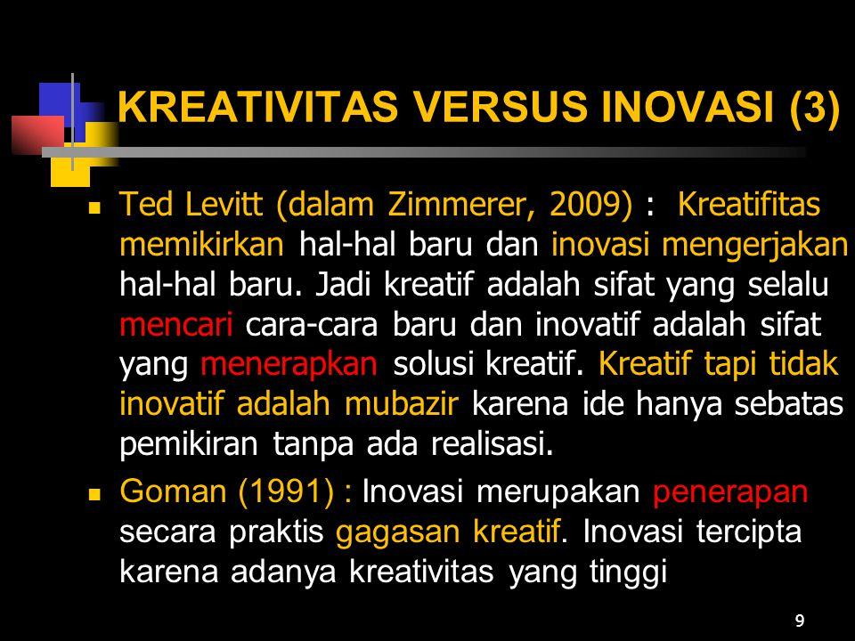 KREATIVITAS VERSUS INOVASI (4) George dan Zhou (2009) : Kreativitas dan inovasi berada pada wilayah domain yang sama tapi mmemiliki batas yang tegas Kreativitas merupakan langkah awal menuju inovasi yang terdiri atas beberapa tahap Kreativitas berkaitan dengan menghasilkan sesuatu yang baru dan gagasan yang bermanfaat Inovasi berkaitan dengan menghasilkan/adopsi gagasan bermanfaat dan implementasinya 10