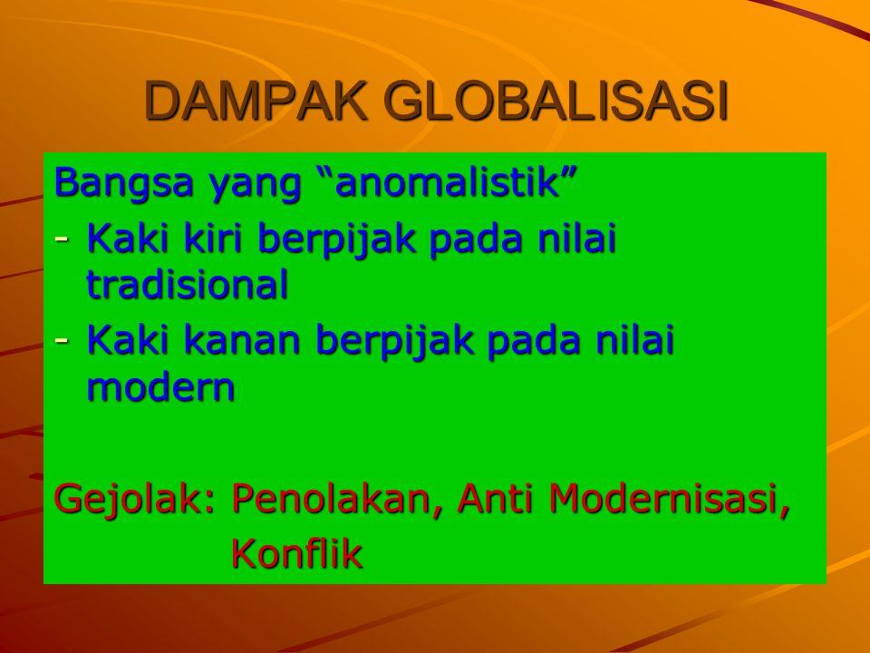 "DAMPAK GLOBALISASI Bangsa yang ""anomalistik"" -Kaki kiri berpijak pada nilai tradisional -Kaki kanan berpijak pada nilai modern Gejolak: Penolakan, Ant"