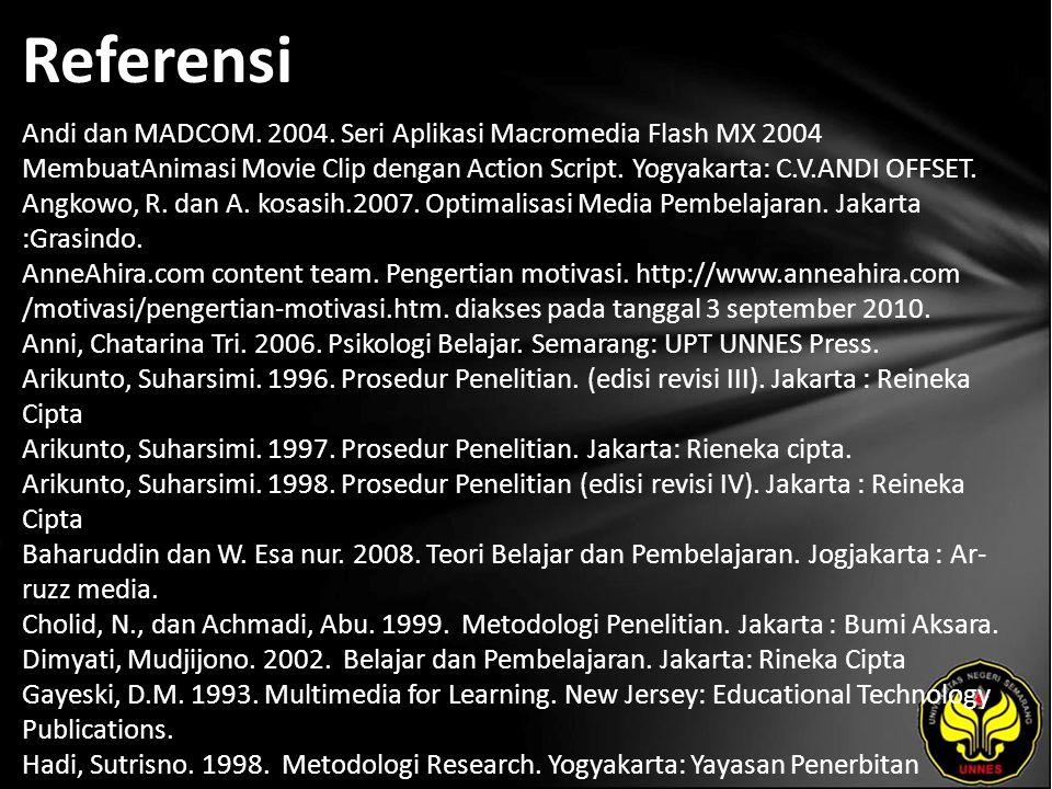 Referensi Andi dan MADCOM. 2004. Seri Aplikasi Macromedia Flash MX 2004 MembuatAnimasi Movie Clip dengan Action Script. Yogyakarta: C.V.ANDI OFFSET. A