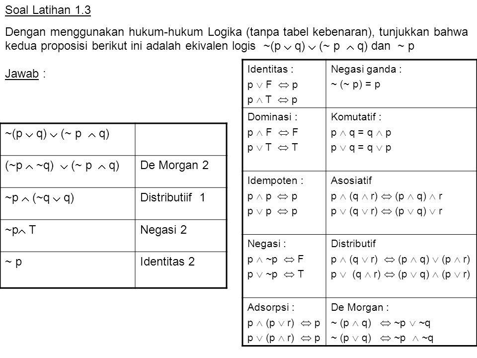 Soal Latihan 1.3 Dengan menggunakan hukum-hukum Logika (tanpa tabel kebenaran), tunjukkan bahwa kedua proposisi berikut ini adalah ekivalen logis ~(p