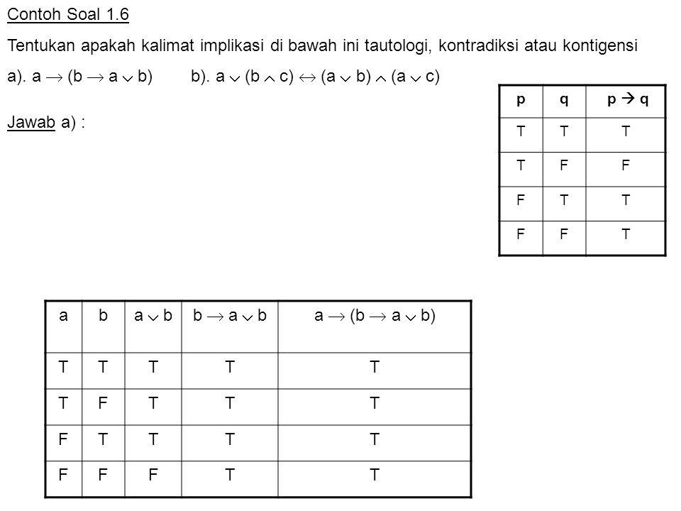 Contoh Soal 1.6 Tentukan apakah kalimat implikasi di bawah ini tautologi, kontradiksi atau kontigensi a). a  (b  a  b) b). a  (b  c)  (a  b) 