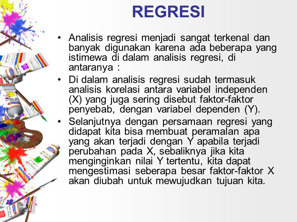 REGRESI Analisis regresi menjadi sangat terkenal dan banyak digunakan karena ada beberapa yang istimewa di dalam analisis regresi, di antaranya : Di dalam analisis regresi sudah termasuk analisis korelasi antara variabel independen (X) yang juga sering disebut faktor-faktor penyebab, dengan variabel dependen (Y).