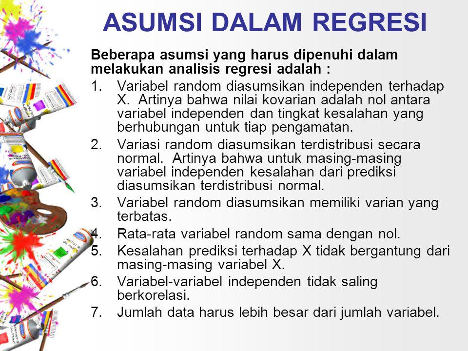 ASUMSI DALAM REGRESI Beberapa asumsi yang harus dipenuhi dalam melakukan analisis regresi adalah : 1.Variabel random diasumsikan independen terhadap X.