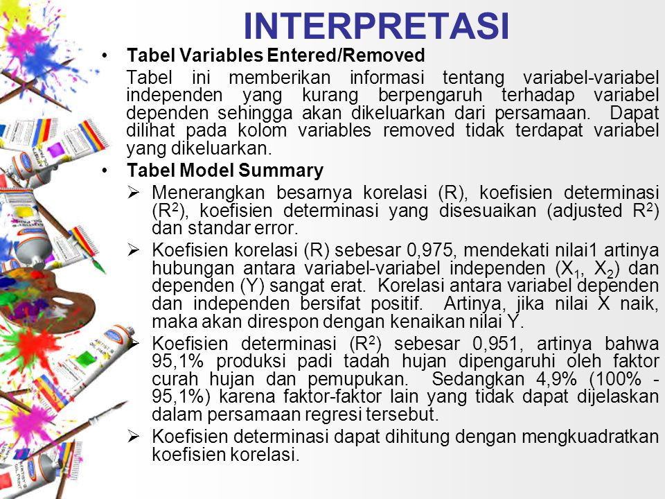 INTERPRETASI Tabel Variables Entered/Removed Tabel ini memberikan informasi tentang variabel-variabel independen yang kurang berpengaruh terhadap vari