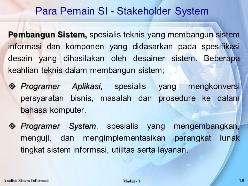 Para Pemain SI - Stakeholder System Pembangun Sistem, Pembangun Sistem, spesialis teknis yang membangun sistem informasi dan komponen yang didasarkan
