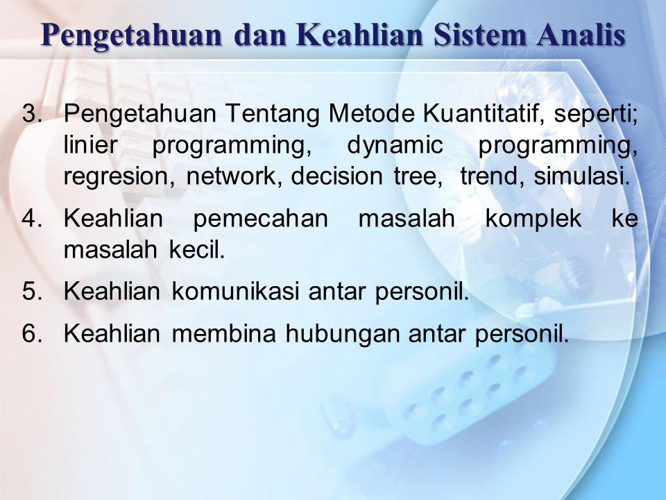 3.Pengetahuan Tentang Metode Kuantitatif, seperti; linier programming, dynamic programming, regresion, network, decision tree, trend, simulasi. 4.Keah