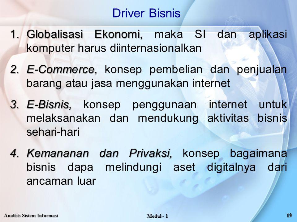 1.Globalisasi Ekonomi, 1.Globalisasi Ekonomi, maka SI dan aplikasi komputer harus diinternasionalkan 2.E-Commerce, 2.E-Commerce, konsep pembelian dan