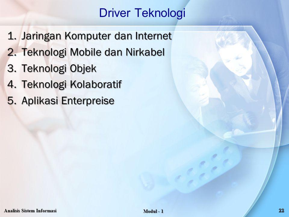 1.Jaringan Komputer dan Internet 2.Teknologi Mobile dan Nirkabel 3.Teknologi Objek 4.Teknologi Kolaboratif 5.Aplikasi Enterpreise Driver Teknologi Ana