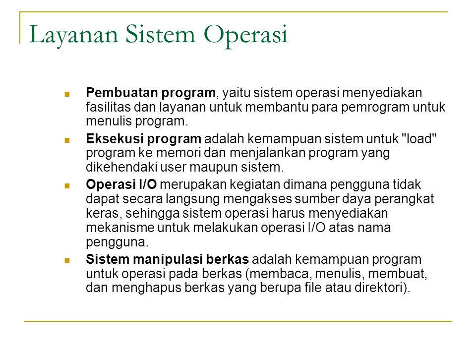 Layanan Sistem Operasi Pembuatan program, yaitu sistem operasi menyediakan fasilitas dan layanan untuk membantu para pemrogram untuk menulis program.