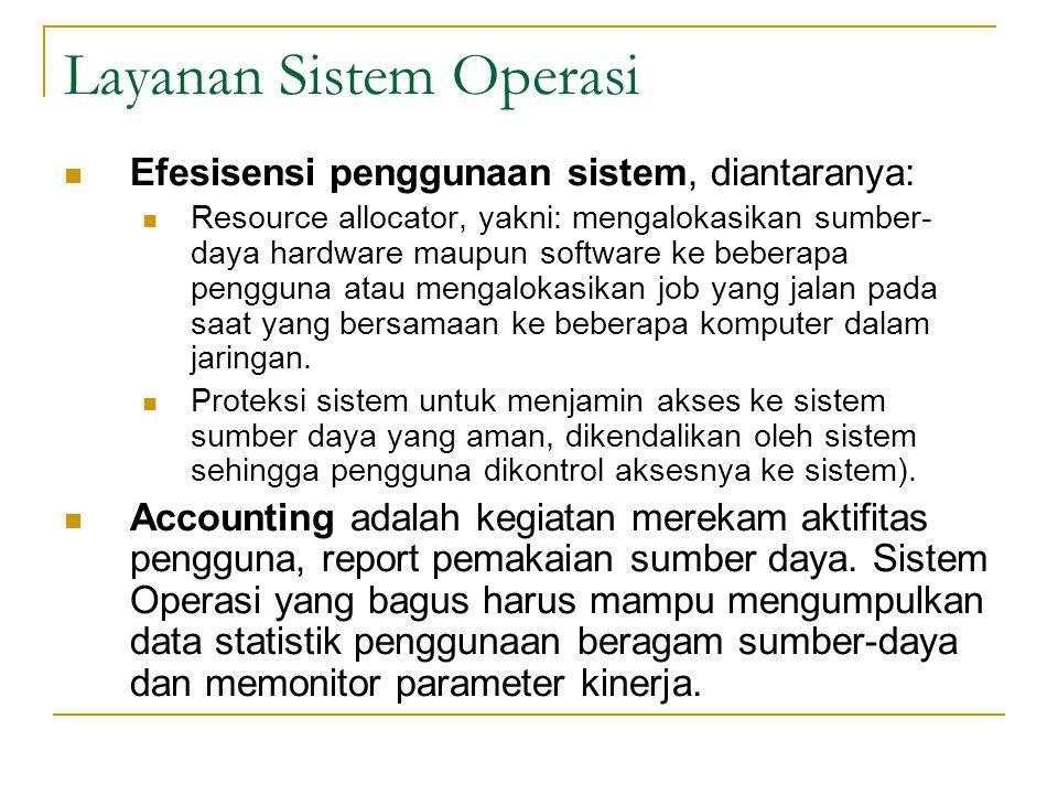 Layanan Sistem Operasi Efesisensi penggunaan sistem, diantaranya: Resource allocator, yakni: mengalokasikan sumber- daya hardware maupun software ke b