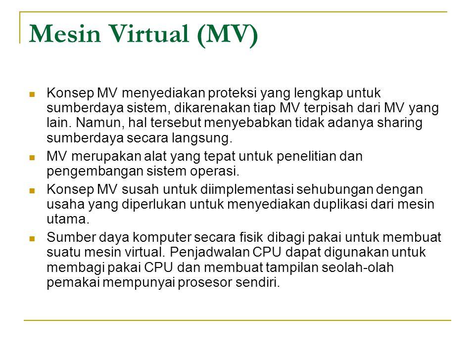 Mesin Virtual (MV) Konsep MV menyediakan proteksi yang lengkap untuk sumberdaya sistem, dikarenakan tiap MV terpisah dari MV yang lain. Namun, hal ter