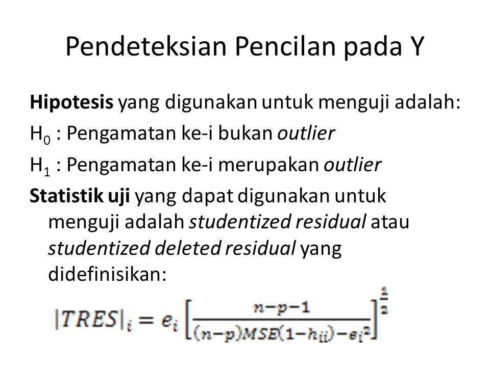 Pendeteksian Pencilan pada Y Hipotesis yang digunakan untuk menguji adalah: H 0 : Pengamatan ke-i bukan outlier H 1 : Pengamatan ke-i merupakan outlier Statistik uji yang dapat digunakan untuk menguji adalah studentized residual atau studentized deleted residual yang didefinisikan: