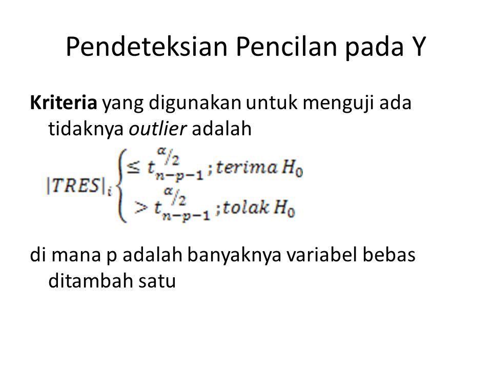 Pendeteksian Pencilan pada Y Kriteria yang digunakan untuk menguji ada tidaknya outlier adalah di mana p adalah banyaknya variabel bebas ditambah satu