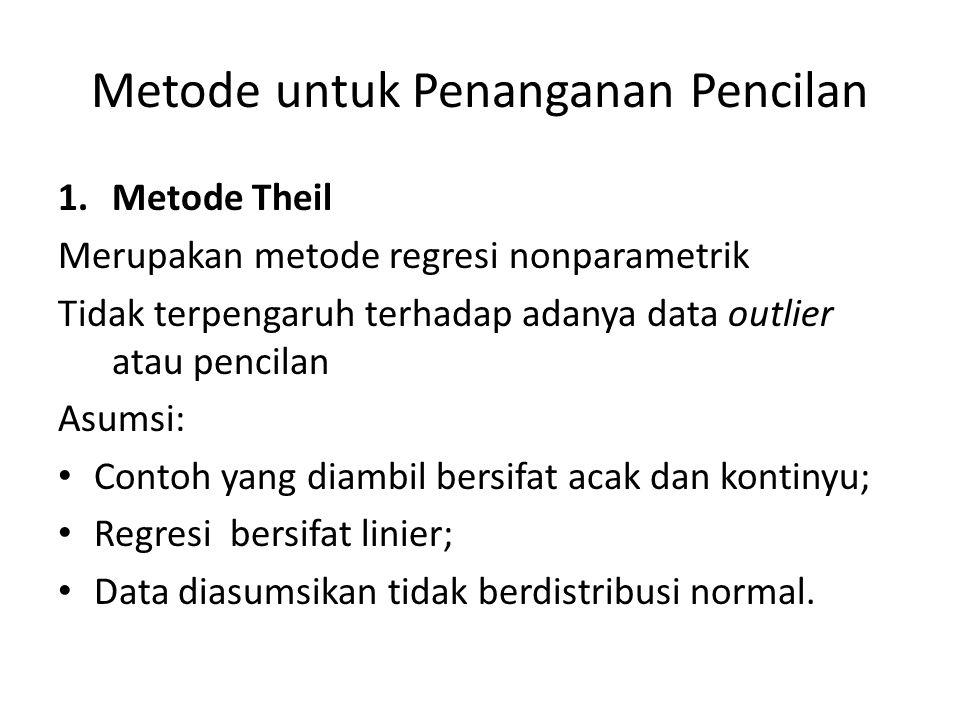 Metode untuk Penanganan Pencilan 1.Metode Theil Merupakan metode regresi nonparametrik Tidak terpengaruh terhadap adanya data outlier atau pencilan Asumsi: Contoh yang diambil bersifat acak dan kontinyu; Regresi bersifat linier; Data diasumsikan tidak berdistribusi normal.