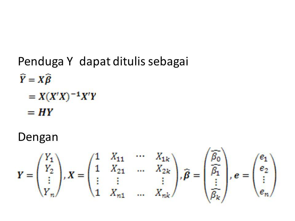 Elemen diagonal dari matriks H memberikan informasi tentang data observasi yang mempunyai nilai leverage yang besar Elemen diagonal ke-i dari matriks H yang dilambangkan dengan h ii diperoleh dari: