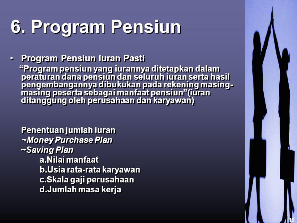 """6. Program Pensiun Program Pensiun Iuran Pasti """"Program pensiun yang iurannya ditetapkan dalam peraturan dana pensiun dan seluruh iuran serta hasil pe"""