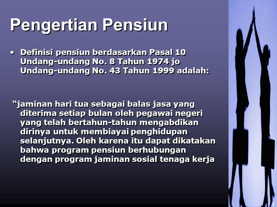 Pengertian Pensiun 2 Definisi pensiun berdasarkan Pasal 10 Undang-undang No.