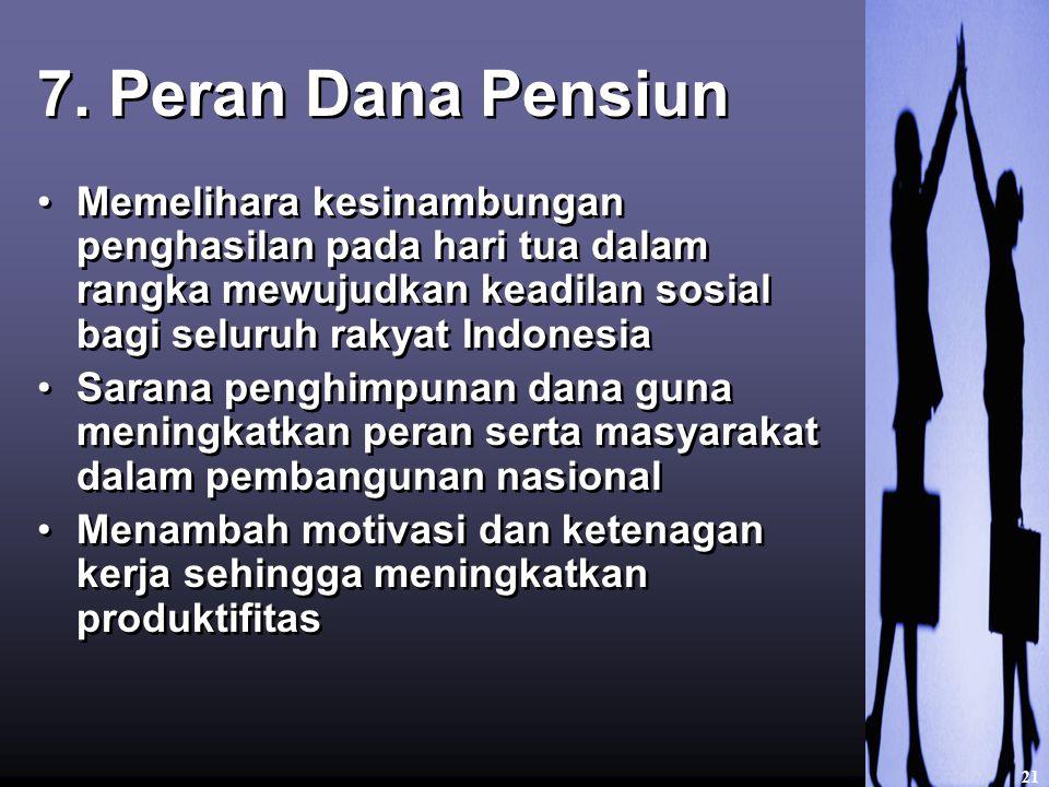 7. Peran Dana Pensiun Memelihara kesinambungan penghasilan pada hari tua dalam rangka mewujudkan keadilan sosial bagi seluruh rakyat Indonesia Sarana