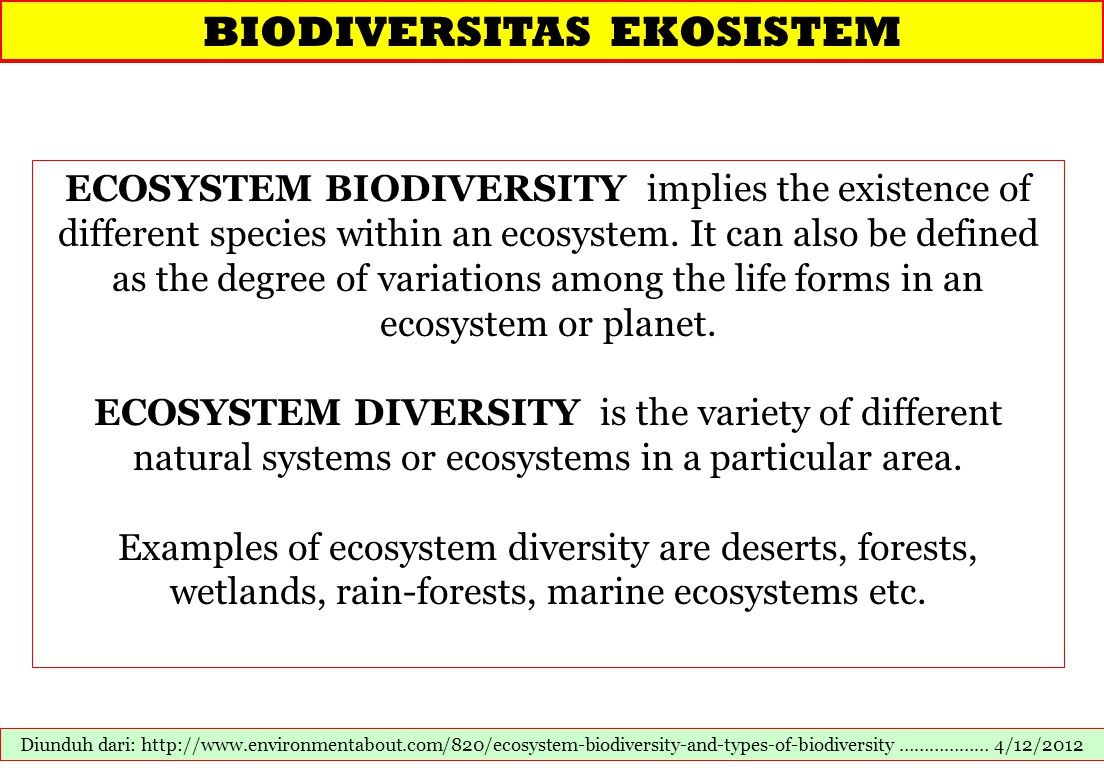 BIODIVERSITAS EKOSISTEM Diunduh dari: http://www.environmentabout.com/820/ecosystem-biodiversity-and-types-of-biodiversity ……………… 4/12/2012 ECOSYSTEM BIODIVERSITY implies the existence of different species within an ecosystem.