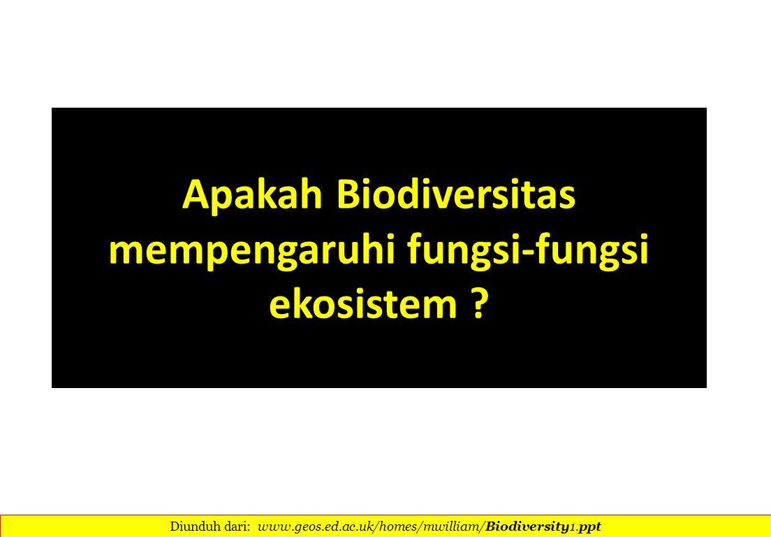 Apakah Biodiversitas mempengaruhi fungsi-fungsi ekosistem ? Diunduh dari: www.geos.ed.ac.uk/homes/mwilliam/Biodiversity1.ppt 