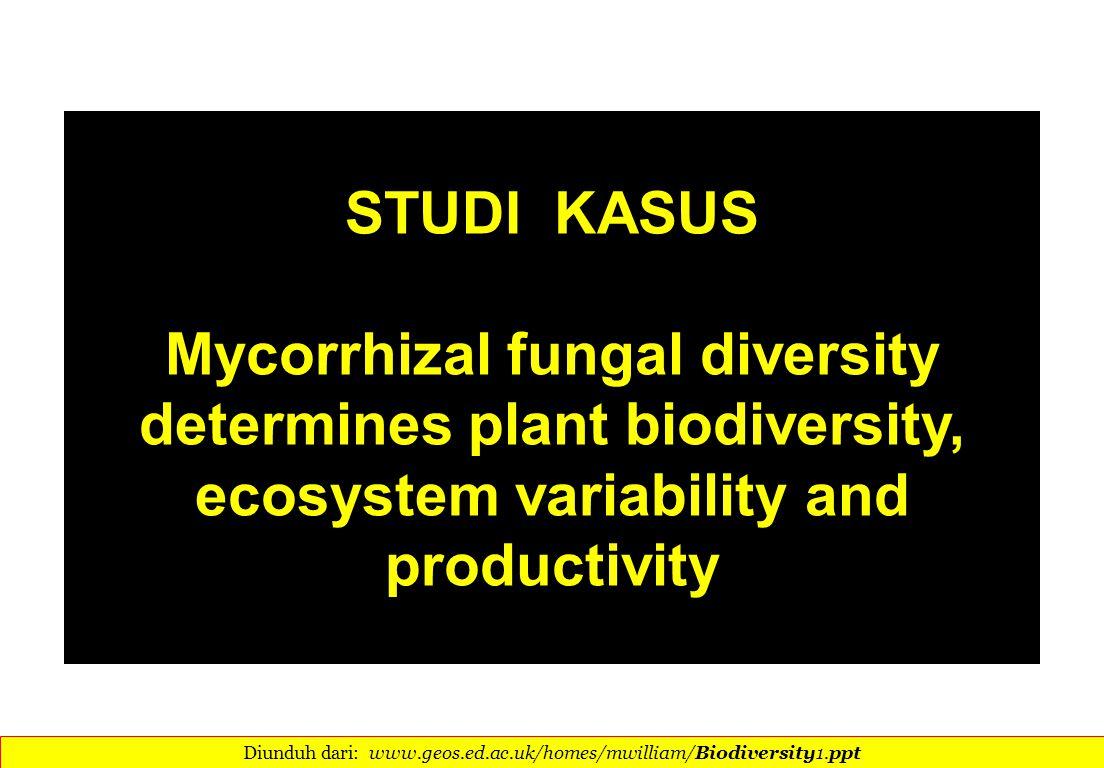 STUDI KASUS Mycorrhizal fungal diversity determines plant biodiversity, ecosystem variability and productivity Diunduh dari: www.geos.ed.ac.uk/homes/mwilliam/Biodiversity1.ppt 