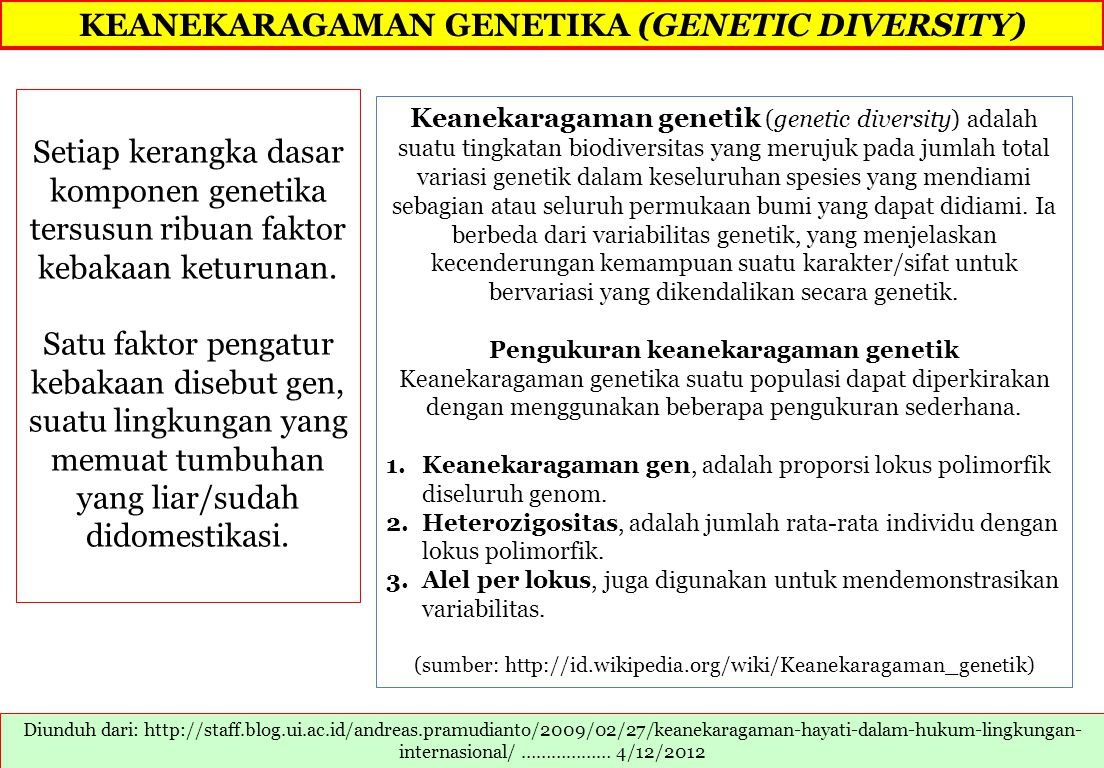 Biodiversity Variety of living things, number of kinds Ecological diversity different habitats, niches, species interactions Species diversity different kinds of organisms, relationships among species Genetic diversity different genes & combinations of genes within populations Diunduh dari: facstaff.gpc.edu/~apennima/ENVS/Biodiversity.ppt 